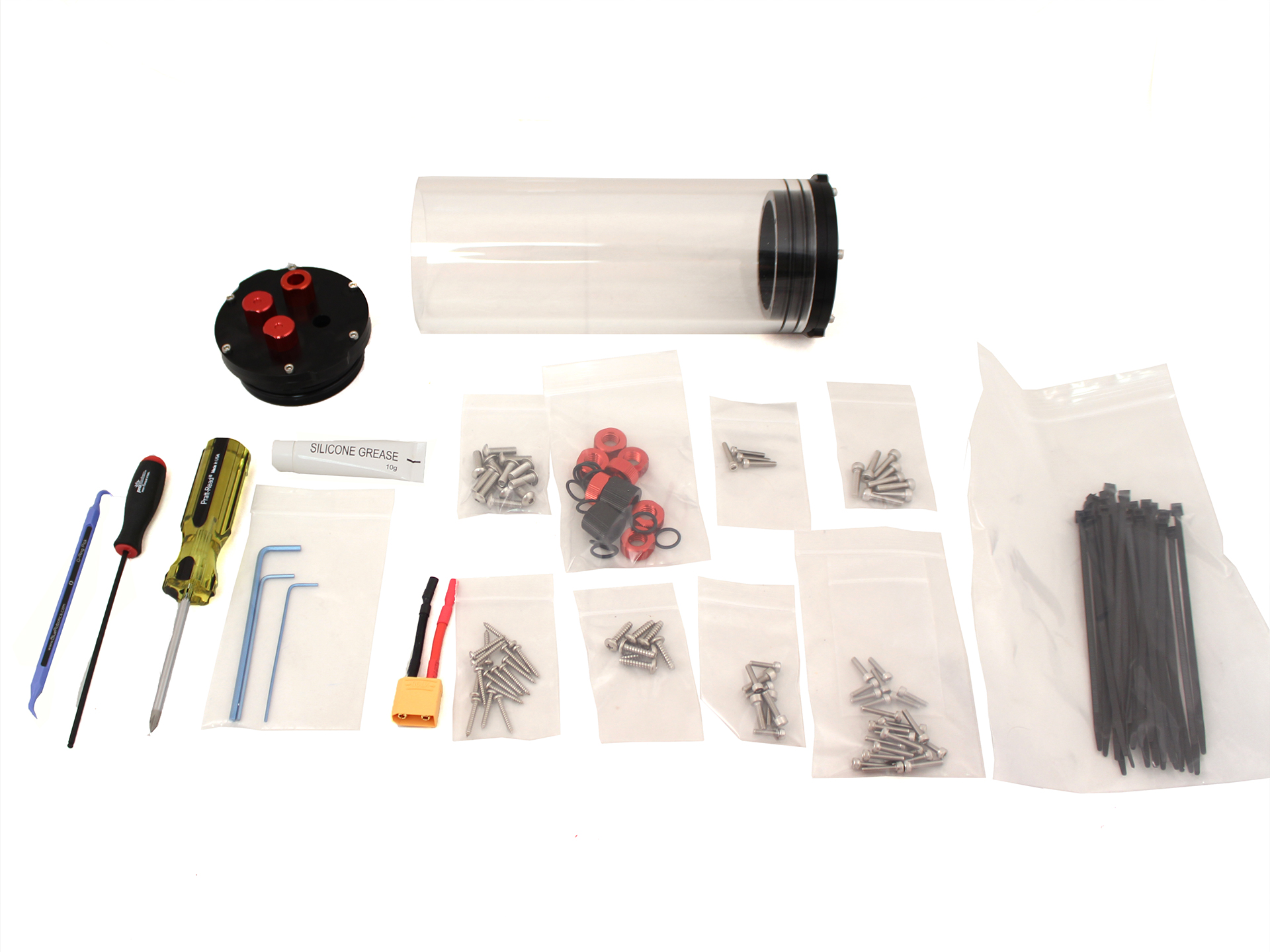 Bluerov2 Kit Assembly Pre March 2017 Wiring Diagram Hot Wire Foam Cutter Open The Battery Enclosure And Set Bags Inside Of It To Side Except For Bag With 4 M4x14 M3x12 Screws In